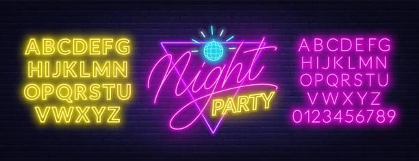 bildbanksillustrationer, clip art samt tecknat material och ikoner med neon bokstäver night party på tegel vägg bakgrund. glödande typsnitt. - disco lights