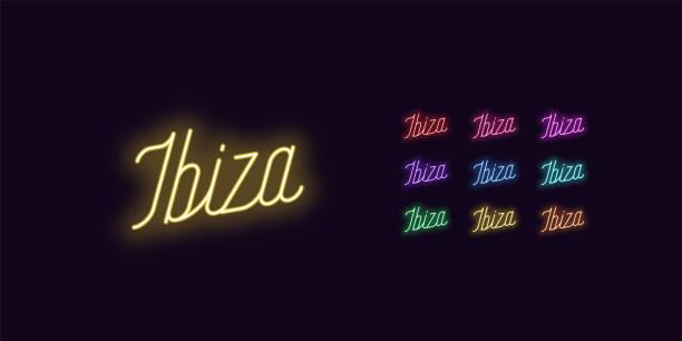 ilustrações de stock, clip art, desenhos animados e ícones de neon lettering of ibiza name. neon glowing text - ibiza