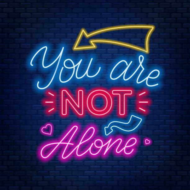 stockillustraties, clipart, cartoons en iconen met neon belettering u bent niet alleen. motiverende citaat. - zelfmoord