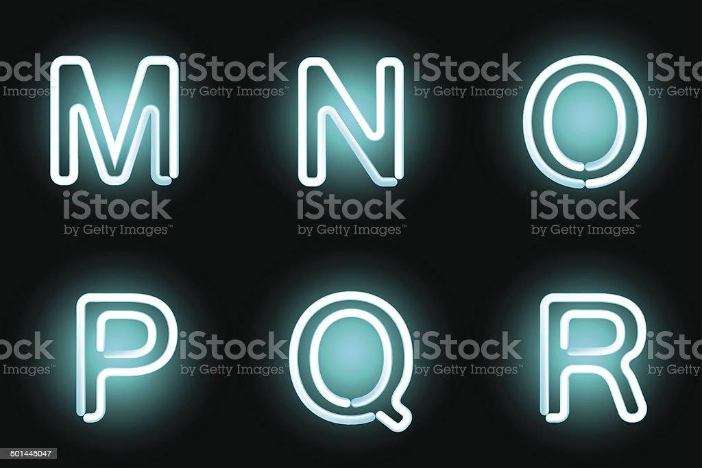 neon letters vector art illustration