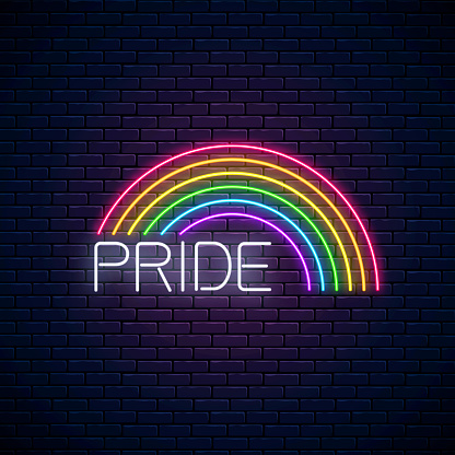 Neon LGBT rainbow with pride text. Pride sign design template, LGBT logo, bisexual, gay and transgender rights banner