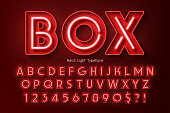 istock Neon light 3d alphabet, extra glowing font. 1011860272