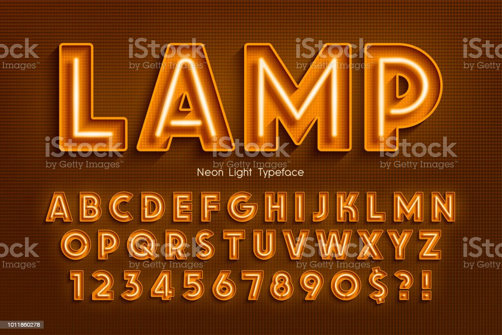 Neon light 3d alphabet, extra glowing font. vector art illustration