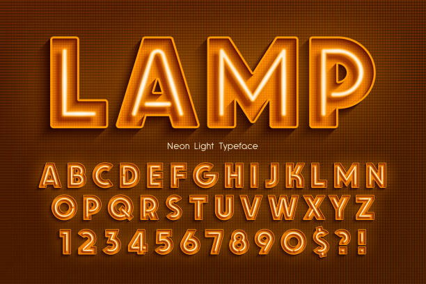 neon light 3d alphabet, extra glowing font. - fonts and typography stock illustrations, clip art, cartoons, & icons