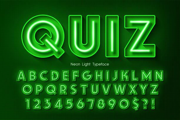 네온 빛 3d 알파벳, 여분의 빛나는 글꼴. - 형광 stock illustrations