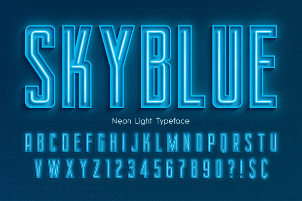 Neon light 3d alphabet, extra glowing font Neon light 3d alphabet, extra glowing font. Exclusive swatch color control. nightlife stock illustrations