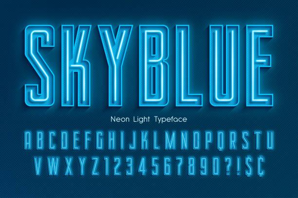 ilustrações de stock, clip art, desenhos animados e ícones de neon light 3d alphabet, extra glowing font - texto