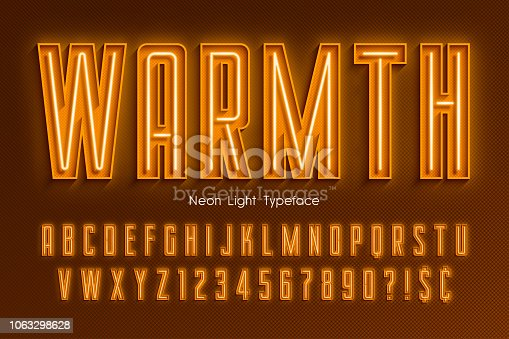 Neon light 3d alphabet, extra glowing font. Exclusive swatch color control.