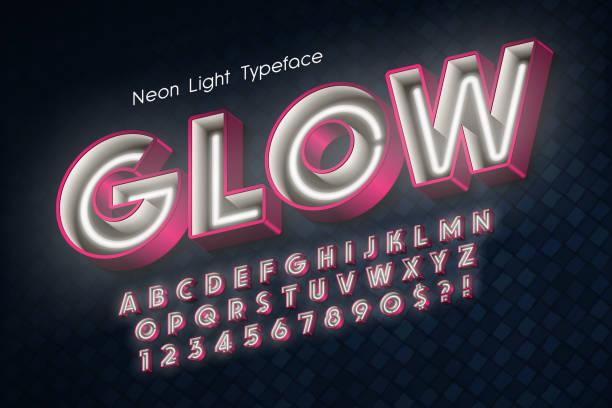 Neón de luz 3d alfabeto, fuente extra brillante. - ilustración de arte vectorial