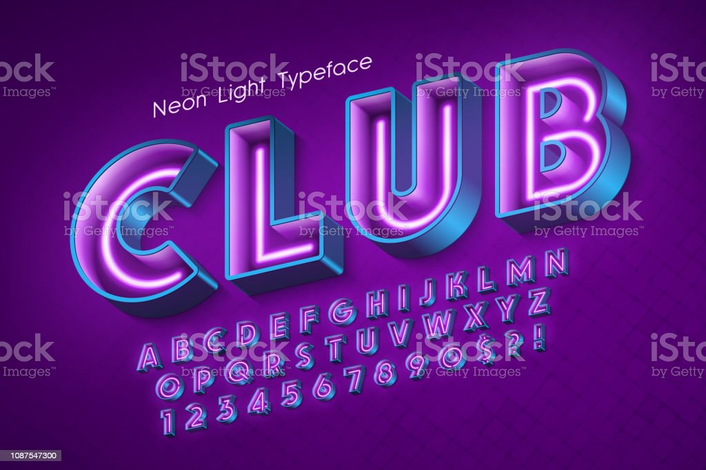 Neon Light 3d Alphabet Extra Glowing Font Stock Illustration - Download  Image Now