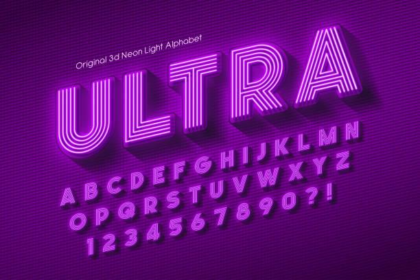 네온 빛 3d 알파벳, 여분의 빛나는 글꼴. - 형광색의 stock illustrations