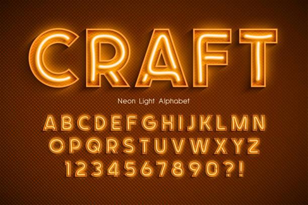 neonowe światło alfabet 3d, dodatkowa świecąca czcionka. - neon stock illustrations