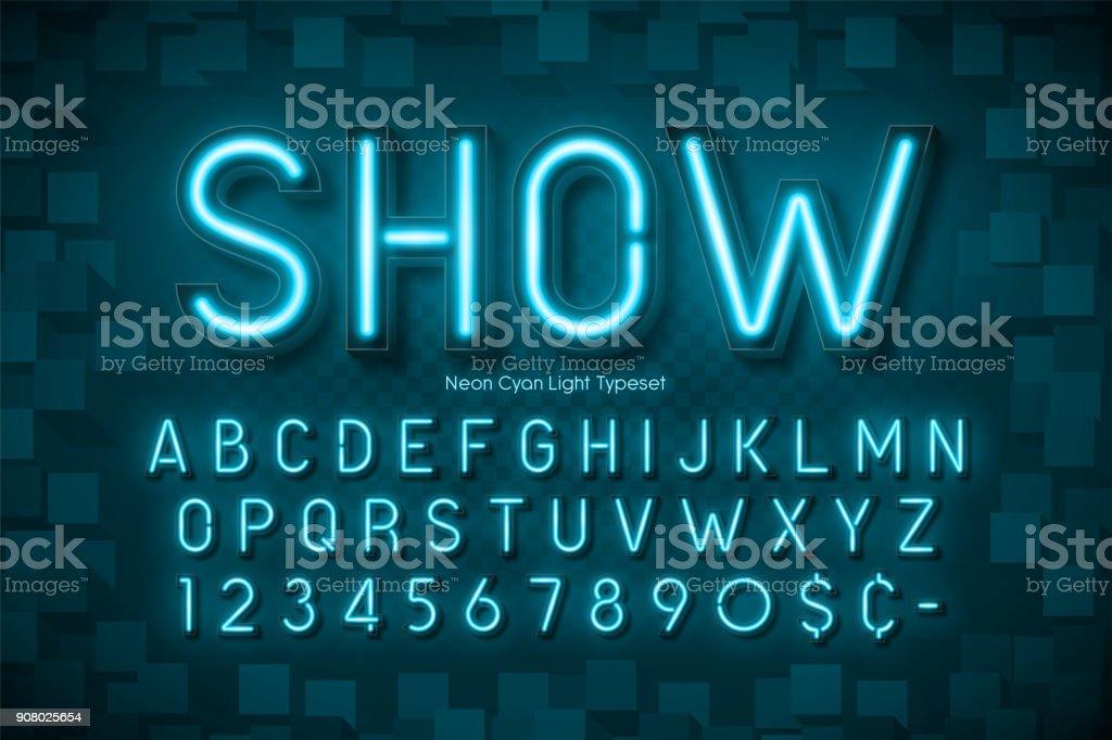 Néon lumière 3d alphabet, polices extra brillant - Illustration vectorielle