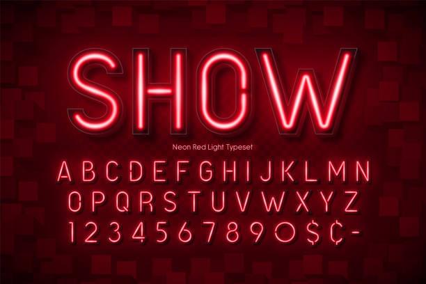 네온 빛 3d 알파벳, 여분의 빛나는 글꼴 - 형광 stock illustrations