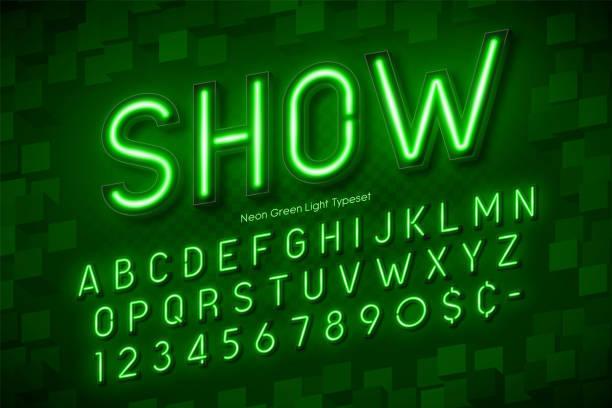 Luz de neón alfabeto 3d, fuentes extra brillante - ilustración de arte vectorial