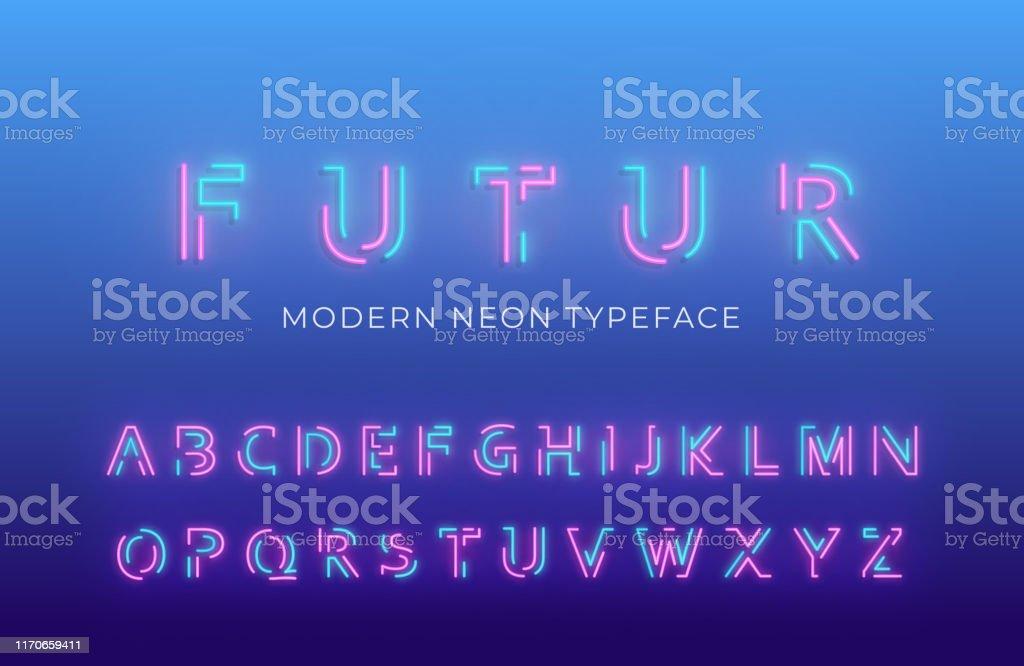 네온 빛 알파벳 글꼴입니다. 빛나는 네온 컬러 3D 현대 알파벳 서체 - 로열티 프리 0명 벡터 아트
