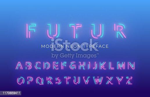istock Neon light alphabet font. Glowing neon colored 3d modern alphabet typeface 1170659411