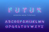 Neon light alphabet font. Glowing neon colored 3d modern alphabet typeface.