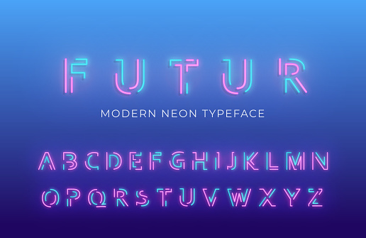 Neon light alphabet font. Glowing neon colored 3d modern alphabet typeface