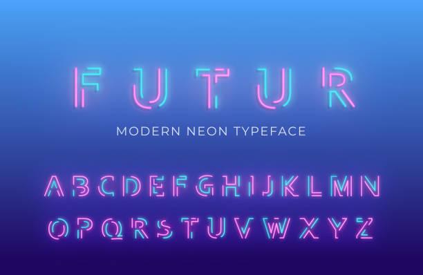 neonowa czcionka alfabetu światła. świecący neon kolorowy 3d nowoczesny alfabet kroju pisma - neon stock illustrations