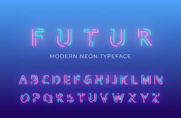 네온 빛 알파벳 글꼴입니다. 빛나는 네온 컬러 3d 현대 알파벳 서체 - 형광색의 stock illustrations