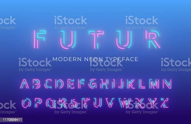 네온 빛 알파벳 글꼴입니다 빛나는 네온 컬러 3d 현대 알파벳 서체 0명에 대한 스톡 벡터 아트 및 기타 이미지