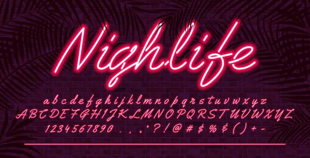 neonowa czcionka alfabetu, czerwona świecąca ręcznie rysowana wielkie i małe litery, projekt typografii wektorowej, ceglane tło ściany z tropikalnymi liśćmi - neon stock illustrations