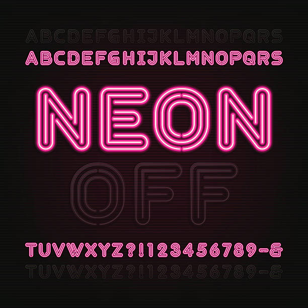 Neon Light Alphabet Font. Two different styles. Neon Light Alphabet Font. Two different styles. Lights on or off. Bold type letters, numbers and symbols. Red neon tube letters on a dark background. Vector typeface for animation, labels, titles, posters etc. color intensity stock illustrations