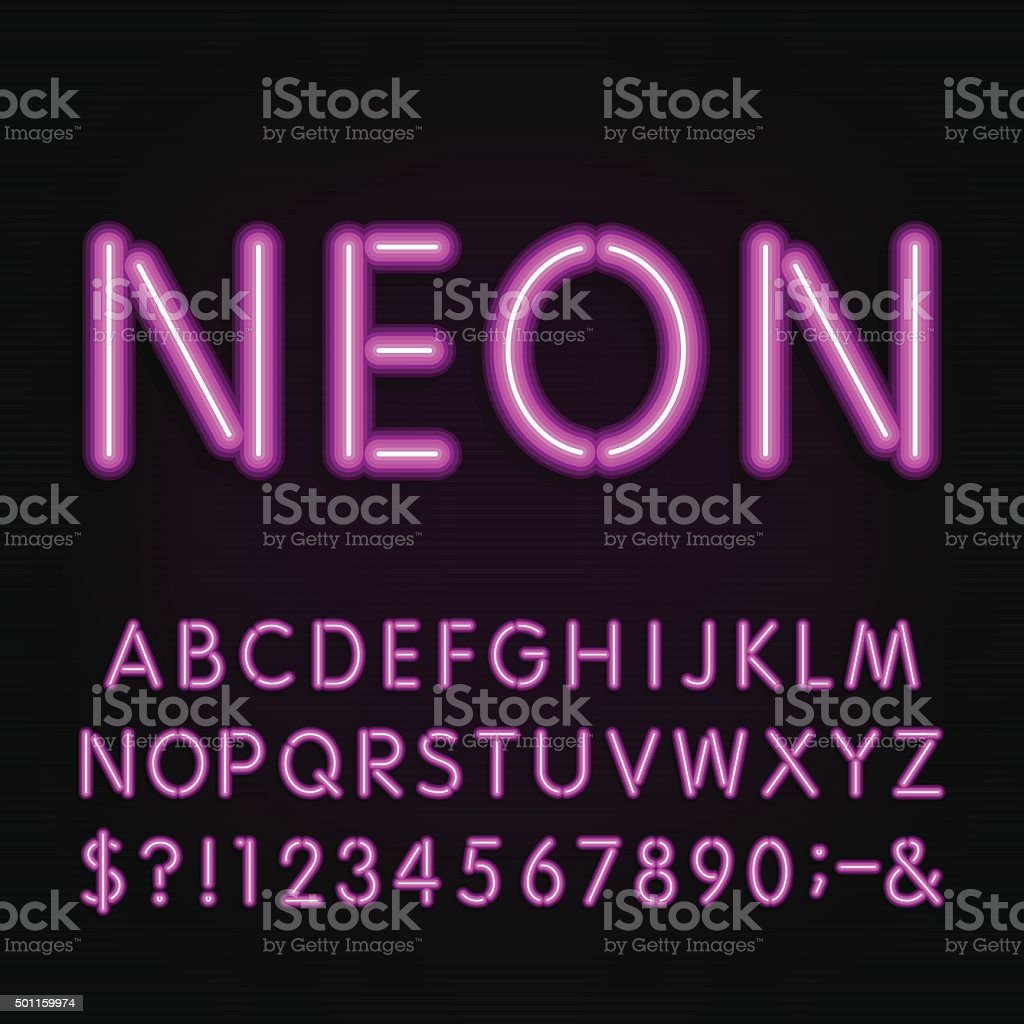 Neon Light Alphabet Font. vector art illustration