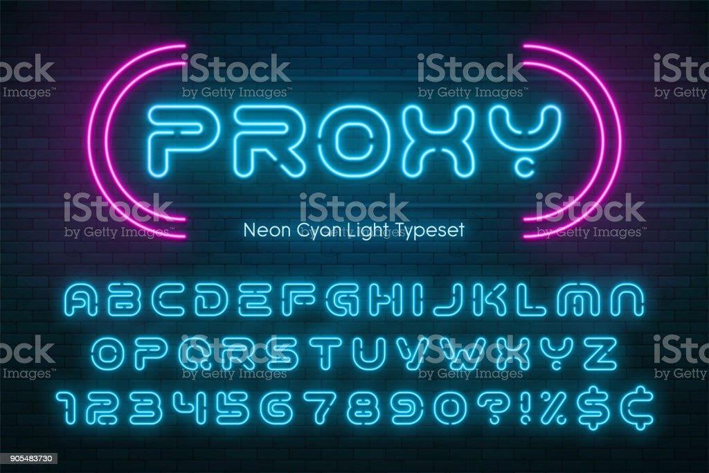 Neon light alphabet, futuristic extra glowing font vector art illustration