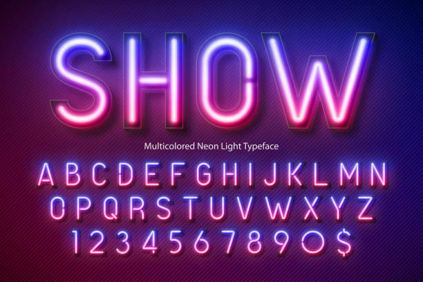 neonowy alfabet świetlny, wielobarwna dodatkowa świecąca czcionka - neon stock illustrations