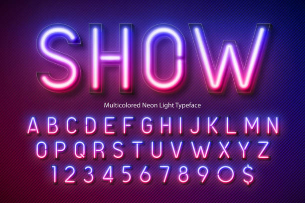 neon light alphabet, multicolored extra glowing font - алфавит stock illustrations