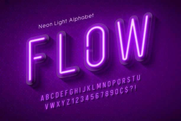 네온 빛 알파벳, 여러 가지 빛깔의 여분의 빛나는 글꼴. - 형광색의 stock illustrations