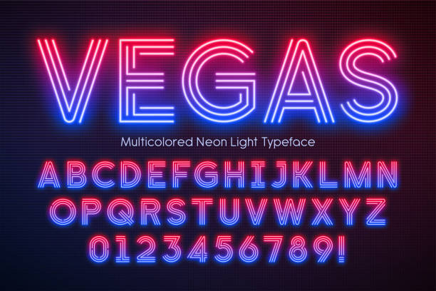 Neon light alphabet, multicolored extra glowing font Neon light alphabet, multicolored extra glowing font. Exclusive swatch color control. casino stock illustrations