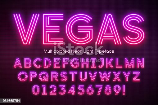 istock Neon light alphabet, multicolored extra glowing font 931665754