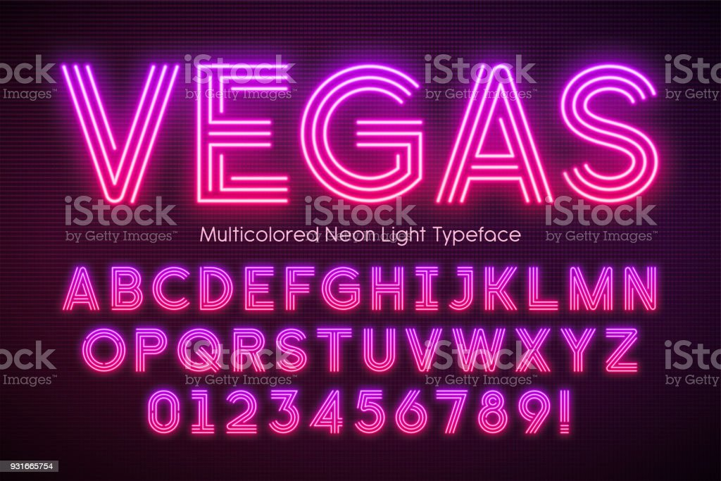 Neon light alphabet, multicolored extra glowing font vector art illustration