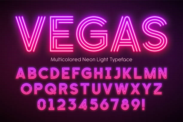 neon light alphabet, multicolored extra glowing font - dyskoteka stock illustrations