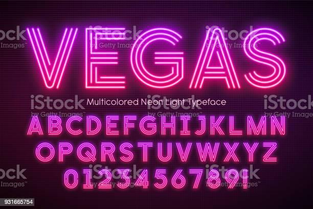 네온 빛 알파벳 여러 여분의 빛나는 글꼴 LED 조명에 대한 스톡 벡터 아트 및 기타 이미지