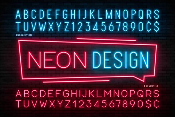 neonowy alfabet świetlny, realistyczna dodatkowa świecąca czcionka. 2 w 1 - neon stock illustrations