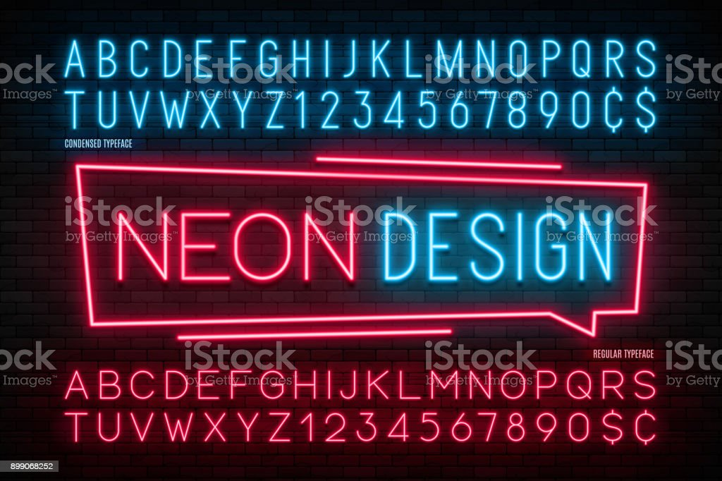 Neon light alphabet, realistic extra glowing font. 2 in 1 vector art illustration