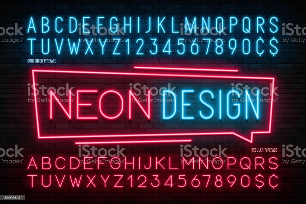 Neon ışık alfabesi, gerçekçi ekstra parlak yazı. 2 in 1 vektör sanat illüstrasyonu