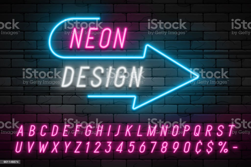 Neon light alphabet, realistic extra glowing font. Exclusive swatch color control. vector art illustration