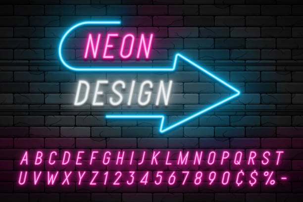 Neon light alphabet, realistic extra glowing font. Exclusive swatch color control. Neon light alphabet, realistic extra glowing font. nightlife stock illustrations