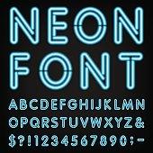 Neon Light Alphabet Vector Font.