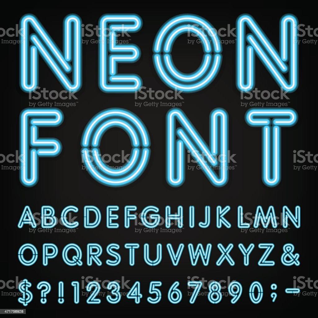 Neon Light Alphabet Vector Font. vector art illustration