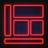 Neon light banners set. Vector Neon light frame sign. Realistic glowing red neon frames isolated on transparent background. Shining and glowing neon effect. Plates with a place for inscriptions