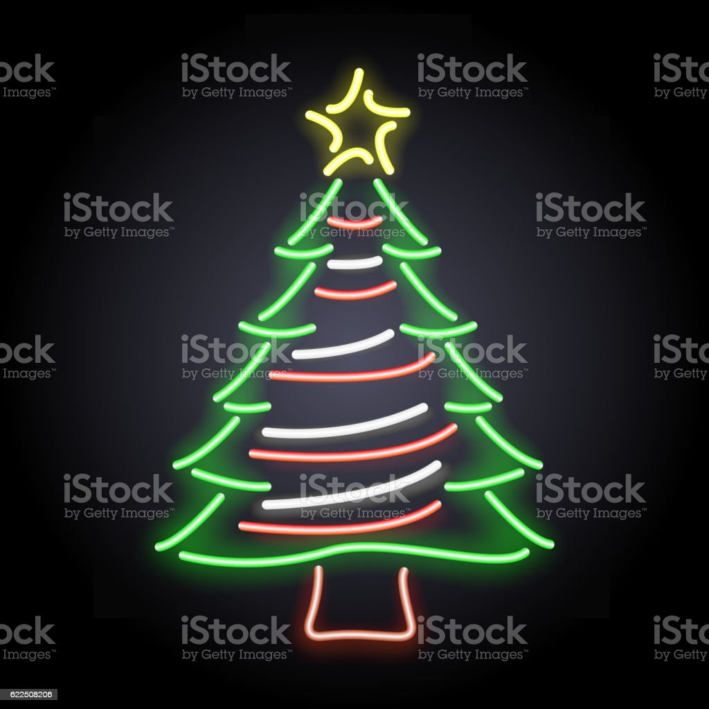 Neon Light Christmas Tree Vector Stock Vector Art & More Images of ...
