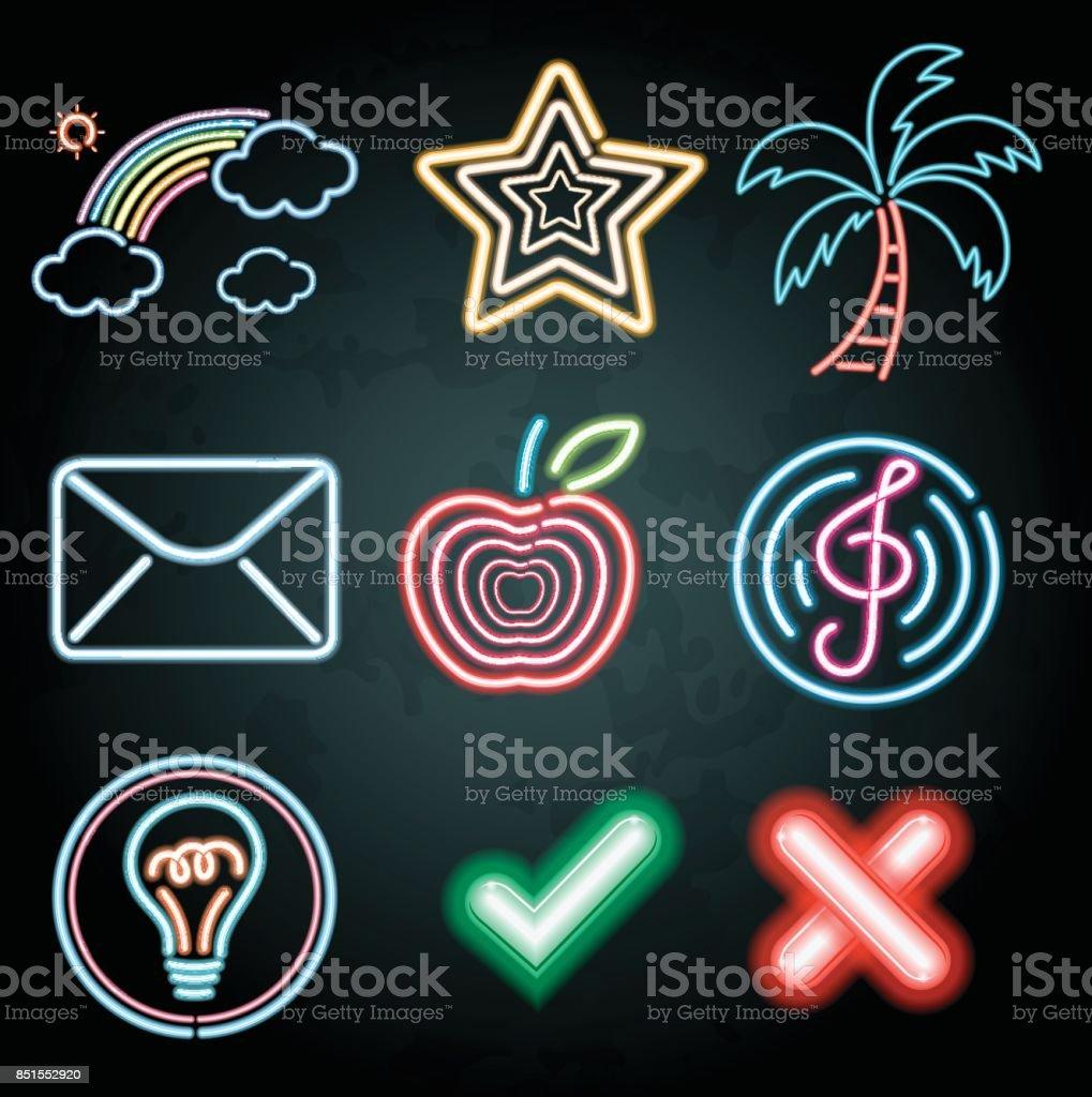 Neon-Licht-Dekoration mit verschiedenen Artikeln – Vektorgrafik
