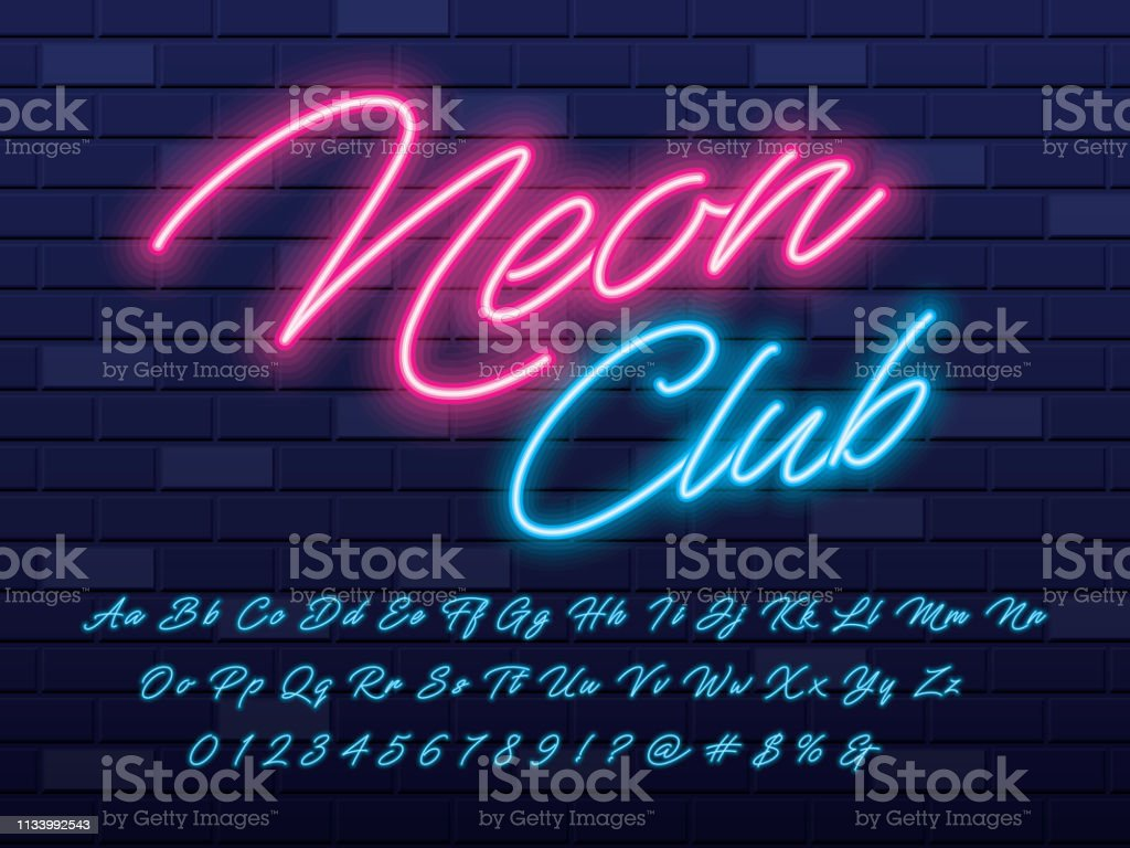 neon light font royalty-free neon light font stock illustration - download image now