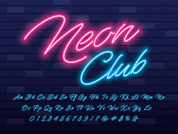 neon light font Glowing neon light alphabet design handwriting stock illustrations